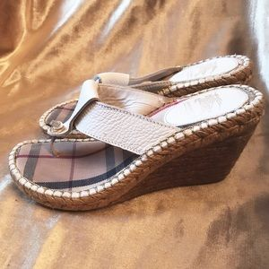 Burberry White Leather  Espadrille Wedge Sandal